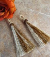 Exclusive 2-tone, Horsehair Tassel, White-Brown, horsehair tassel, purse tassel