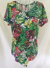 NWT PALM HARBOUR Womens Small S/S Sequins Tropical FLORAL