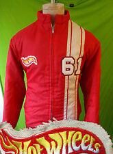 Vintage Hot wheels racing jacket stripe red faux fur lining RED medium large