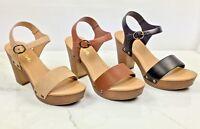 New Women Soda Chivas Chunky Heel Single Band Ankle Buckle Strap Platform Sandal