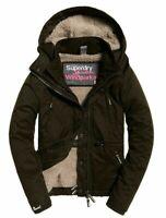New Womens Superdry Microfibre Boxy Snorkle  premium Jacket Army uk