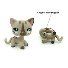 Littlest Pet Shop LPS #468 Gray striped Short Hair Cat Flower Eyes Girl Toys