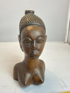 Vintage Hand Carved Wooden African Woman Tribal Head Bust Statues Art Treen