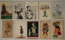 Collector's Lot of 10 Vintage Hand Painted Postcards Unique & Colorful Variety
