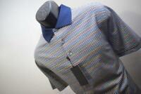 39968 New Bobby Jones 1930 Performance Short Sleeve Striped Golf Polo Medium