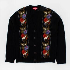 Supreme FW19 Floral Stripe Cardigan sweater hooded camp box hat shirt cap Black