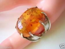 Massiver 925 Silber Ring mit Honig Bernstein 14 g / 17,8 mm Amber