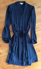 Vintage 1980s PURPLE PATCH Sheer Black Shirt Dress Made In Australia Size S 8-10