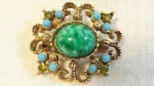 ORNATE VINTAGE GOLD BROOCH/PIN GREEN OVAL BLUE & GREEN ACCENTS STONES