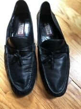 ARTIOLI Star Black Perforated Leather Tassel Loafers Dress Shoes Italy Size 9.5