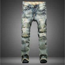 Men Ripped Biker Skinny Jeans Frayed Pants Casual Slim Fit Jogger Denim Trousers