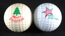 Ping Eye 1 & 2 Golf Ball Red White Merry Christmas Mistletoe Lot of 2 balls VTG