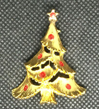 Estate Find Vintage Christmas Tree Pin Brooch Gold Tone Rhinestones