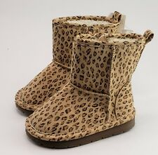 Baby Gap Girls Leopard Sherpa Boots Faux Suede Size 6 NEW