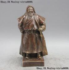 "11"" Bronze Copper Mongolia Dynasty Creator Hero Gengis Khan Jenghiz Khan Statue"
