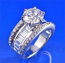 STERLING SILVER ROUND CENTER & CHANNEL SET BAGUETTE WHITE CZ RING, SZ-7, 3.75CTS