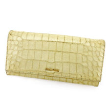 miumiu Wallet Purse Long Wallet Beige Green Woman Authentic Used T5508