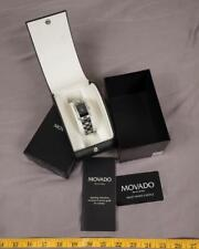 Movado Black Stainless Steel Diamonds Eliro 84 C1 415 AS Women's Wristwatch tthc