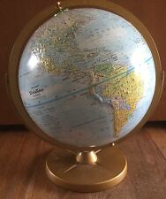 """Vintage Replogle World Nation 12"""" Desk Globe Made in Usa Dual Axis Metal Frame"""