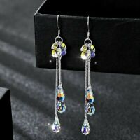 Fashion Crystal Tassel Long Drop Dangle Earrings Eatwedrop Stud Women Jewelry