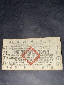 Southern Railway Red Diamond Platform Ticket Barnstaple Town