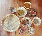 Vintage Wicker Rattan Wall Baskets Trivet 9 Peice Wall Decor Boho Chic Farmhouse