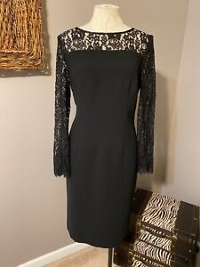 Talbots Black Long Lace Sleeve Sheath Dress 12