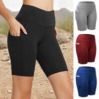 Women High Waist Biker Shorts Pocket Yoga GYM Mid Thigh Bermuda Leggings Pants