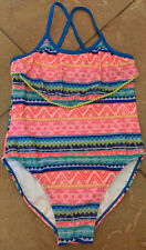Tommy Bahama Big Girls~1-Piece Swimsuit Bathing~ Fun Print~Pom Pom trim~ Size 14