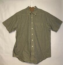 Brooks Brothers Original Polo Yellow Blue Plaid Short Sleeve Men's Size L Shirt