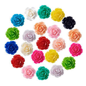 50pcs Flower Resin Beads Findings For DIY Jewelry Making Design 6x4mm hole 1mm