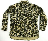 Vintage Black Sheep Fleece Camo Hunting LS Button Front Shirt Mens Size M