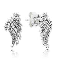 Authentic Pandora 925 Silver Majestic Feathers Stud Earrings Clear CZ #290581CZ