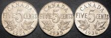 Set of Canada 5 Cent Nickels - 1934 - 1935 - 1936 - Great Condition