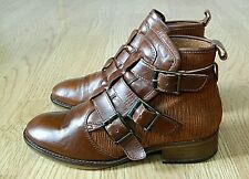 Bertie Ladies Leather Ankle Boot Tan Brown with Straps Size 3.5 / 36