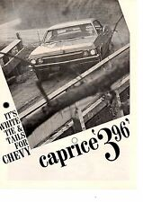 1965 CHEVROLET CAPRICE 396/325 HP ~ ORIGINAL 6-PAGE ROAD TEST / ARTICLE / AD