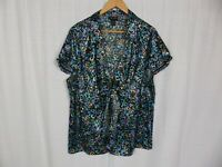 Lane Bryant Women's Printed Short Sleeve V Neck Blouse Tie Front Size 22/24