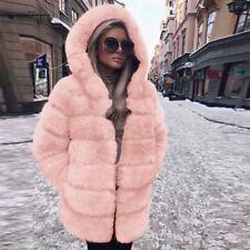 Fashion Luxury Women Faux Fur Coat Hooded Autumn Winter Warm Overcoat  Jackets