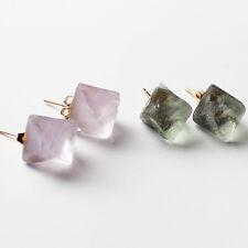 24K Gold Semi-Precious Chunky Green/Purple Fluorite Stud Earrings
