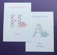 10 Personalised Thank You Cards - Folded - Blank - New Baby-Christening-Girl-Boy