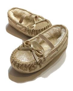 Cat & Jack toddler baby girls Celina gold slippers size 7/8