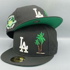 LA Dodgers Palms & 50th Anniversary New Era 59FIFTY MLB Black Hat Green Bottom