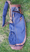 OGIO Golf Retro Carry Bag Navy + Tan with travel bag cover