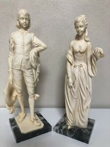 "13"" A. Santini Victorian Lady & Man Alabaster Resin Sculptures"