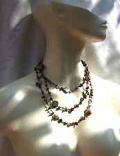 GOLDENBROWN MERMAID Tigerauge Perle Perlmutt Kette 150 cm braun 1,2,3 tragbar