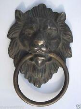 6.9x10.9cm Chinese Old Bronze Fierce Majestic Lion's Head Lion Door Knocker
