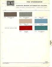 vintage 1962 STUDEBAKER Color Chip Paint Sample Brochure/Chart: R-M RM
