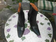 Russell and Bromley Black Leather Pointy Toe Side Zip Ankle Mid Heel Boots 41
