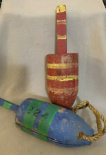 Pair of Colorful Lobster Trap Buoys Maritime Nautical Decor 224 Wooden 13�