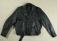 VTG AERO SCOTLAND BLACK HORSEHIDE LEATHER MOTORCYCLE JACKET BIKER 42